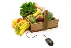 Compras en línea de la fruta y verdura Foto de archivo