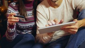 Compras en línea de la Navidad almacen de metraje de vídeo