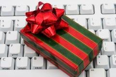 Compras en línea de la Navidad Fotos de archivo