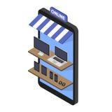 Compras en línea de la tienda isométrica del concepto de artilugios y de la electrónica Frente de la tienda del teléfono móvil Sa Imagen de archivo