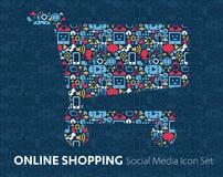 Compras en línea de medios iconos sociales Fotografía de archivo libre de regalías