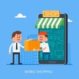Compras en línea en Internet usando smartphone móvil Ejemplo rápido del vector del concepto de la entrega en diseño plano del est Imagen de archivo