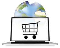 Compras en línea globales Foto de archivo libre de regalías
