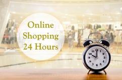 Compras en línea 24 horas de concepto Imagenes de archivo