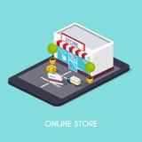 Compras en línea isométricas del web plano 3d Comercio electrónico, BU electrónico Fotos de archivo libres de regalías