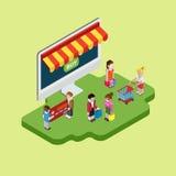 Compras en línea isométricas del web plano 3d, concepto infographic de las ventas Imágenes de archivo libres de regalías