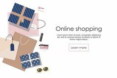 Compras en línea Panieres y otros aislados en el fondo blanco ilustración del vector