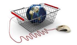Compras en línea por todo el mundo ilustración del vector
