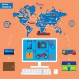 Compras en línea y concepto móvil del márketing Fotografía de archivo