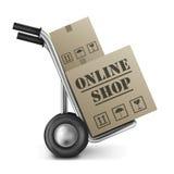 Compras en línea de la caja de cartón del departamento del Web del Internet Imagen de archivo libre de regalías