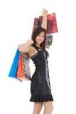 Compras expresivas de la mujer foto de archivo libre de regalías