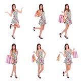 Compras felices de la mujer, collage Imágenes de archivo libres de regalías