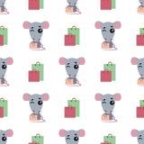 Compras lindas de la rata de la historieta Fondo incons?til La rata se coloca al lado de los paquetes y de los guiños Vector libre illustration