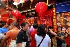 Compras lunares chinas del Año Nuevo de Singapur Chinatown Fotos de archivo libres de regalías