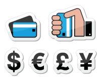 Compras, métodos del pago, iconos del dinero en circulación Foto de archivo libre de regalías