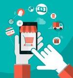 Compras móviles ilustración del vector