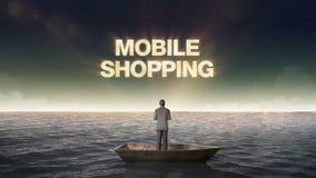 COMPRAS MÓVILES de levantamiento del error tipográfico, frente del hombre de negocios en una nave, en el océano, mar stock de ilustración