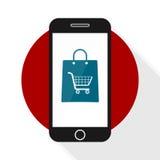 Compras móviles del icono del comercio Fotos de archivo