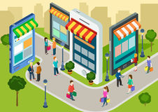 Compras móviles isométricas del web plano 3d, concepto infographic de las ventas