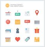 Compras perfectas del pixel e iconos planos del mercado Fotografía de archivo libre de regalías