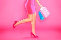 Compras rosadas Imágenes de archivo libres de regalías