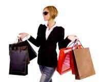Compras rubias de la mujer Imagen de archivo libre de regalías