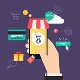 Compras y comercio electrónico en línea del concepto Iconos para el marketi móvil ilustración del vector