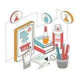Compras y comercio electrónico isométricos planos del concepto de diseño 3d libre illustration