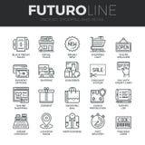 Compras y línea al por menor iconos de Futuro fijados Fotos de archivo