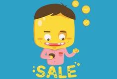 Compratore giallo sulla vendita Immagini Stock Libere da Diritti