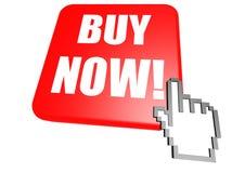 Compre agora o botão com cursor Imagem de Stock