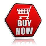 Compre agora o botão do hexágono com sinal do carrinho de compras ilustração do vetor
