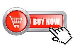Compre agora a tecla azul Fotos de Stock Royalty Free
