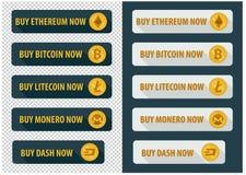 Compre bitcoins agora Ícones em um estilo liso ilustração stock