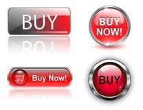 Compre botones, iconos fijados. Fotos de archivo