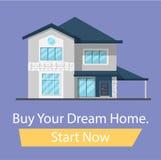 Compre a casa de seus sonhos, ligue agora o botão Bandeira para a casa lisa da família dos desenhos animados do local fotos de stock royalty free