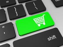 Compre a chave do símbolo no teclado do laptop. Conceito social. Fotografia de Stock
