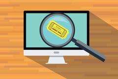 Compre e encontre um computador em linha do uso do bilhete Imagem de Stock
