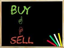 Compre e goste do sinal contra a venda e ao contrário do sinal Fotografia de Stock Royalty Free