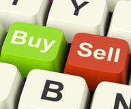 Compre e venda as chaves que representam o comércio ou os estoques do negócio em linha Imagem de Stock Royalty Free