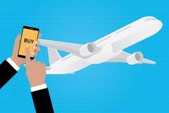Compre líneas aéreas en línea de la línea aérea del boleto con los apps del app del smartphone Foto de archivo