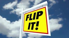 Compre-o animação da casa de Flip House For Sale Sign Real Estate