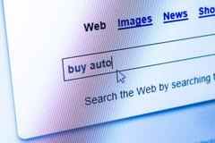 Compre o carro no Internet Foto de Stock
