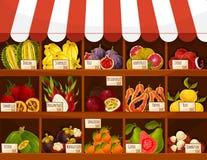 Compre ou introduza no mercado frutos exóticos da exposição do suporte do vetor ilustração stock