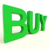 Compre a palavra no verde como o símbolo para o comércio e comprar Fotos de Stock Royalty Free