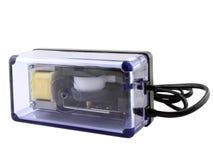 Compresor de aire del acuario (bomba) en blanco Fotos de archivo