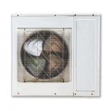 Compresor de aire del metal blanco inclinado a la izquierda aislado Fotografía de archivo
