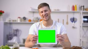 Compressa allegra della tenuta dell'uomo con lo schermo verde, cucinando i blog ed il modello dei apps archivi video