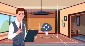 Compressa App di Digital di uso dell'uomo del sistema di automazione domestica astuto sopra il fondo del salone royalty illustrazione gratis