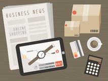 Compressa con gli oggetti di acquisto sul concetto online di acquisto illustrazione vettoriale